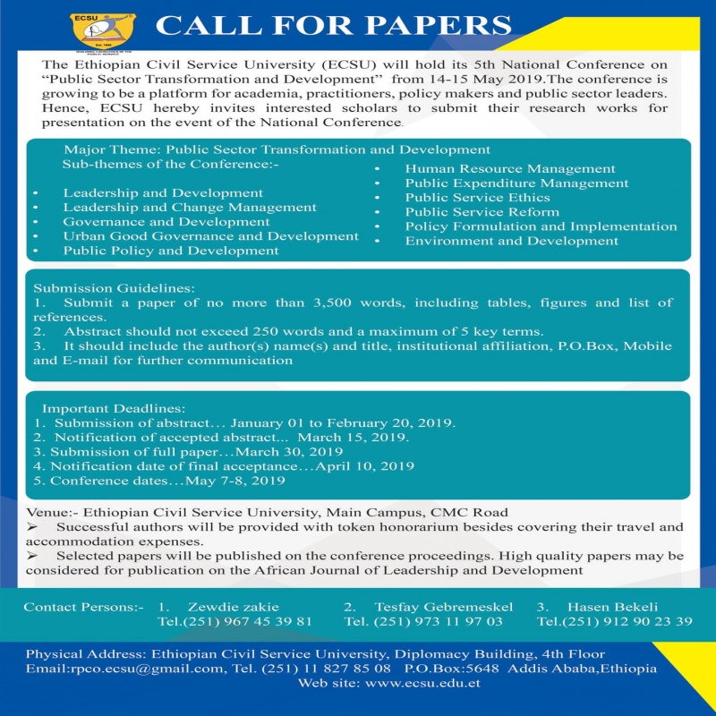 Call for Papers | www ecsu edu et